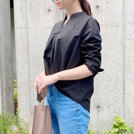 バンドカラー裾タックブラウス (ブラック)