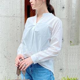 バンドカラー裾タックブラウス (ホワイト)