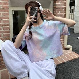 タイダイ染めショート丈Tシャツ (パープル)