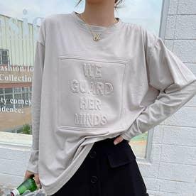 立体ロゴTシャツ (ベージュ1)