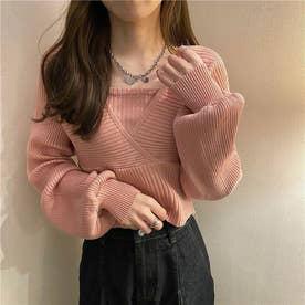 レイヤード風ドルマンニット (ピンク)