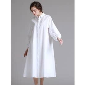 コットンバルーンスリーブシャツドレス (ホワイト)