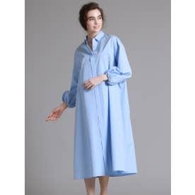 コットンバルーンスリーブシャツドレス (ライトブルー)