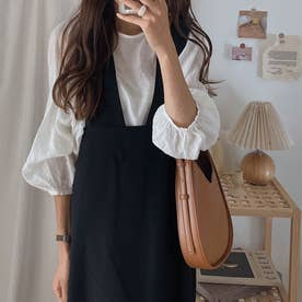 2wayサロペットスカート (ブラック)