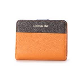 レザー二つ折財布 (オレンジ/チョコ)