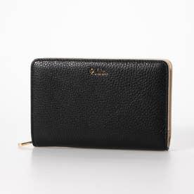 レザー二つ折り財布 (ブラック/ベージュ)