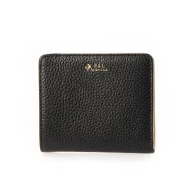 レザーミニ財布 (ブラック/ベージュ)
