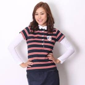 ゴルフシャツ ナガソデシヤツ(レイヤード) QGL2596CP (ネイビー)