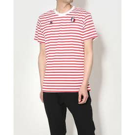 メンズ 半袖Tシャツ ハンソデボーダーシヤツ QMMRJA01 (レッド)