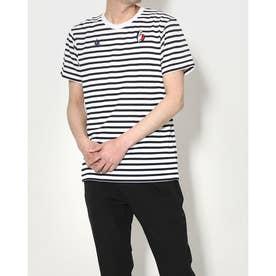 メンズ 半袖Tシャツ ハンソデボーダーシヤツ QMMRJA01 (ホワイト)