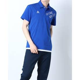 メンズ 半袖ポロシャツ ハンソデエリツキシャツ QMMRJA50CH (ブルー)