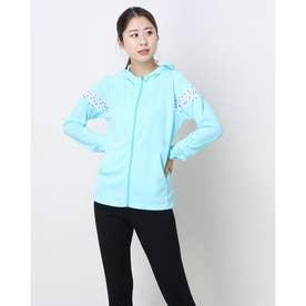 レディース スウェットフルジップパーカー サンスクリーンシャツジャケット QMWPJC60 (ブルー)
