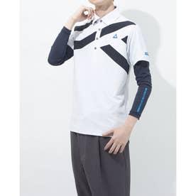 メンズ ゴルフ セットシャツ ハンソデシャツ(ニット) QGMRJA13W (ホワイト)