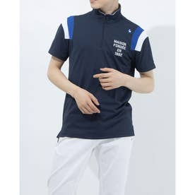 メンズ ゴルフ 半袖シャツ ハンソデシヤツ(ニツト) QGMRJA18 (ネイビー)