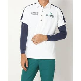 メンズ ゴルフ セットシャツ ハンソデシヤツ(ニツト) QGMSJA06W (ホワイト)