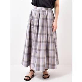 シャンタンチェックタックギャザースカート(パープル)