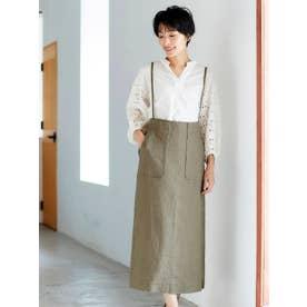 Fanaka 麻サロペットスカート(ブラウン)