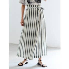 ストライプラップ風ロングスカート(ホワイト)