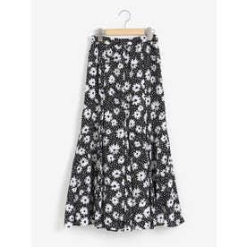 フラワードットマーメイドスカート(ブラック)