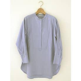 パールボタンヨークロングシャツ(ブルー)