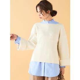 プリーツカラーロングシャツ(ブルー)