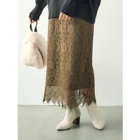 コードレースストレートスカート(ブラウン)