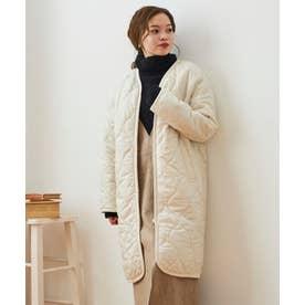 ノーカラーキルティングコート(ホワイト)