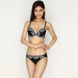 【Pan Cute】大花刺繍ブラ&ショーツセット (ブラック) 【返品不可商品】