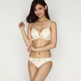 【Pan Cute】大花刺繍ブラ&ショーツセット (アイボリー) 【返品不可商品】