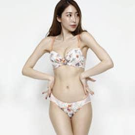 【Pan Cute】花柄プリントブラ&ショーツセット (オレンジ) 【返品不可商品】