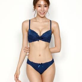 レースリボンブラジャー&ショーツセット (ネイビー)【返品不可商品】