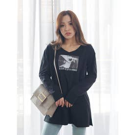 グラフィカルロングTシャツ (ブラック)