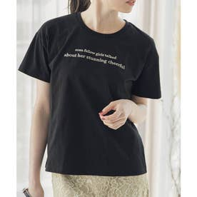 バイカラーメッセージTシャツ (ブラック)