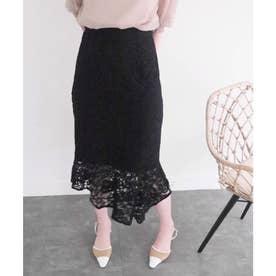 ロングアシメヘムレーススカート (ブラック)