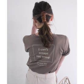 スクエアメッセージTシャツ (ベージュ)