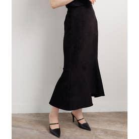 スエードアシメマーメイドスカート (ブラック)