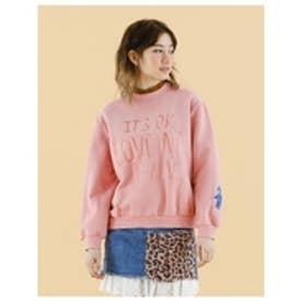 Stitchedmessagesweater/刺繍メッセージスウェット PINK