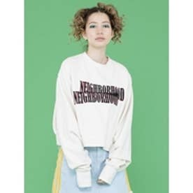 nighborhoodshortsweater/袖ゆるロゴスウェット WHITE