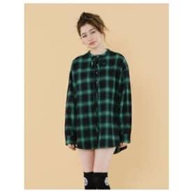 Checkernocollarshirts/チェックノーカラーシャツ GREEN
