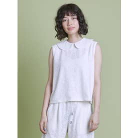lacy no sleeve top (WHITE)