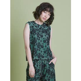 lacy no sleeve top (GREEN)