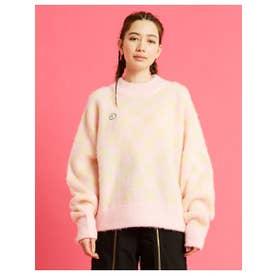 checker knit top (PINK)