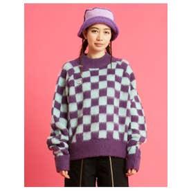 checker knit top (PURPLE)