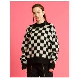 checker knit top (BLACK)