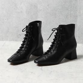 【牛革】スクエア ショートブーツ ブラック(ヒール高さ4.7cm) (ブラック)
