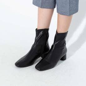 スクエアショートブーツ ブラック(太めヒール4cm) (ブラック)