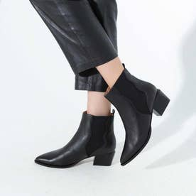 【シープスキン】ポインテッド ショートブーツ ブラック(ヒール高さ4.7cm) (ブラック)