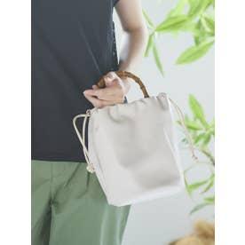 ≪LE VERNIS/ル・ベルニ≫バンブー巾着バッグ (オフホワイト)