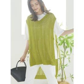 【セット商品】透かし編みニットベスト&半袖無地Tシャツ (グリーン)