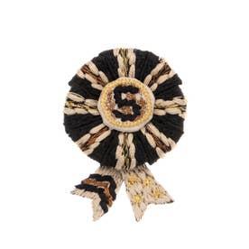ロゼット 刺繍ブローチ (ブラック)